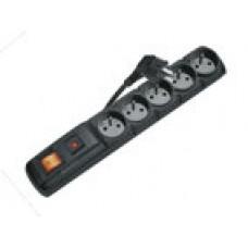 Přepěťová ochrana EMOS P53871, 5 zásuvek s vypínačem, 1.5m, černá