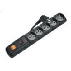 Přepěťová ochrana EMOS P53872, 5 zásuvek s vypínačem, 3m, černá