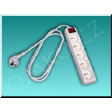 Prodlužovací kabel Solight PP41, 5 zásuvek, 2m, bílý