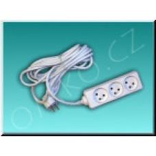 Prodlužovací kabel Solight PP12, 3 zásuvky s vypínačem, 3m, bílý