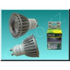 LED bodovka TechniLED GU10-T3C, 3W, 250 lm, teplá bílá, čirá