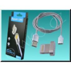 Magnetický Lightning nabíjecí a datový kabel NixCOM pro iOS, 1m, stříbrný